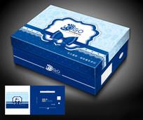 蓝色礼盒式儿童鞋盒包装设计模板