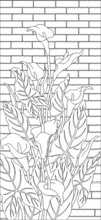 马蹄莲背景墙雕刻图案