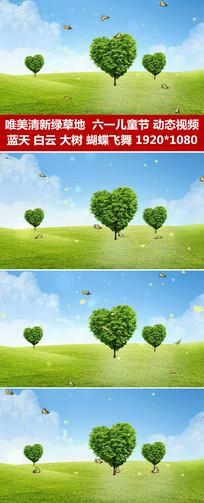 儿童表演清新绿色草地背景视频