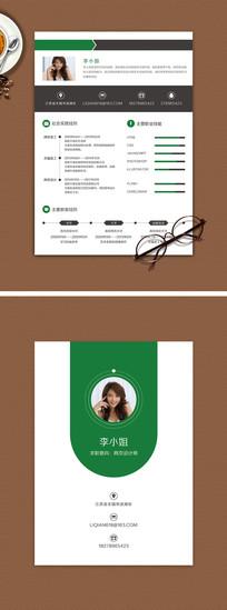 綠色簡約個人求職簡歷模板