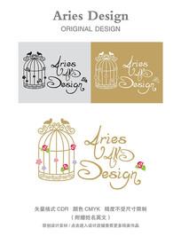 婚礼英文字体CDR玫瑰鸟笼