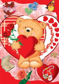 拿玫瑰花的可爱小熊图案psd