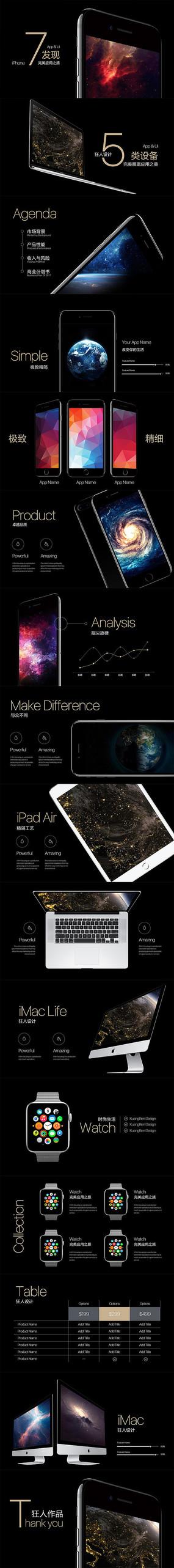 手机app应用ui交互网站宣传ppt模板 pptx