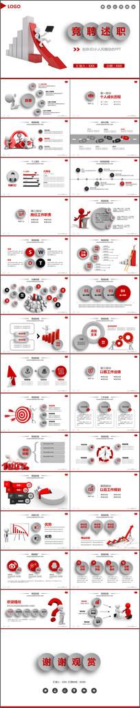 红色创意3D小人岗位竞聘述职报告动态PPT模板