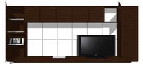 现代白瓷砖电视背景整体模型