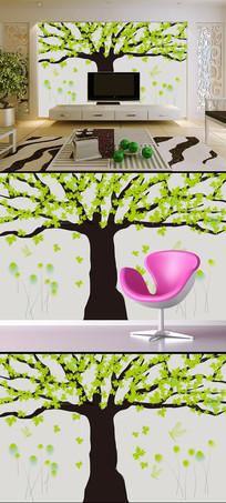 3D绿藤简约花纹3D电视背景墙