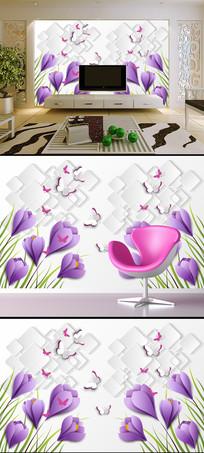 花卉蝴蝶3D立体方块背景墙壁画