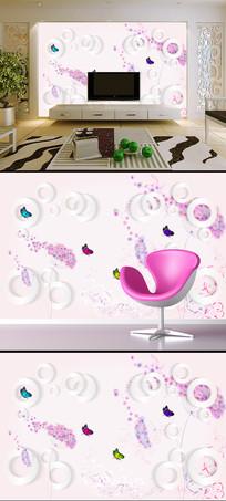 梦幻唯美简约花卉3D圆圈背景墙