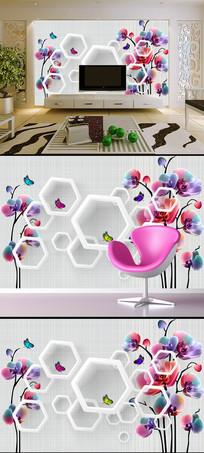 清新时尚蝴蝶兰3D电视背景墙