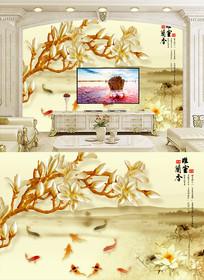 馨室兰香彩雕电视背景墙