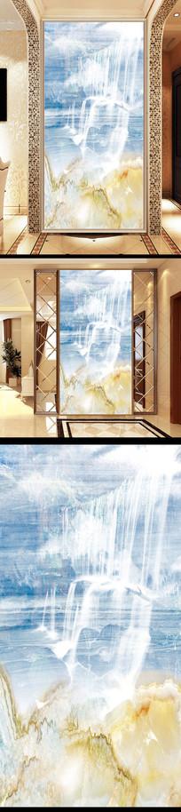 大理石纹理玄关背景墙瀑布流水生财山水装饰画