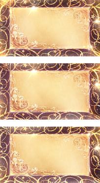 金色彩带花纹边框复古动态视频