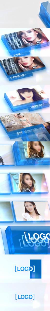 新颖独特蓝色水晶相册模版