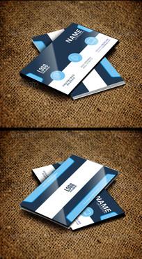 蓝色简约商务名片设计模板