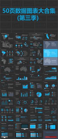 50页扁平化数据图表大合集动态PPT素材