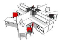 多边形办公桌椅空间