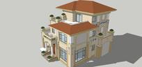 西方別墅建筑模型單體