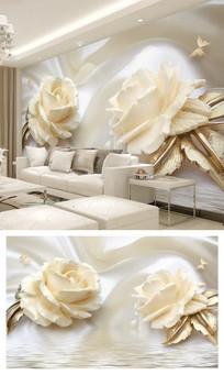 3d立体金色玫瑰丝绸电视背景墙