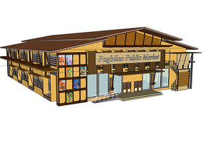 超市商业建筑室内室外模型