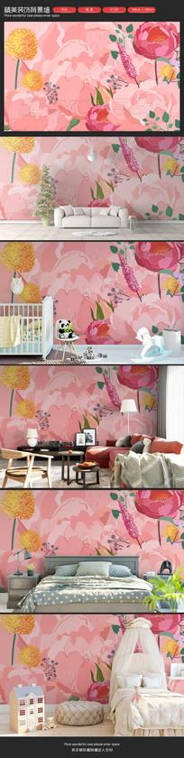 粉色花朵儿童房卧室客厅背景墙
