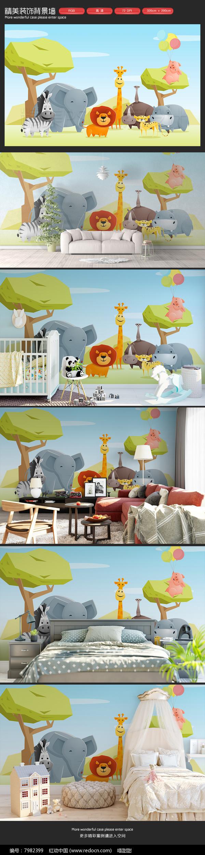 可爱森林小动物儿童房卡通背景墙图片