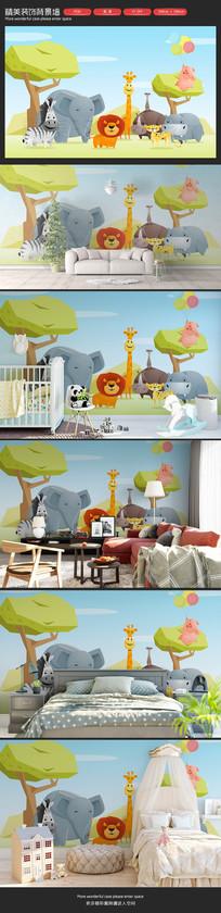 可爱森林小动物儿童房卡通背景墙