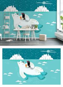 蓝色冰山北极熊卡通电视背景墙