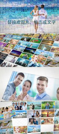 马赛克企业员工照片墙展示ae模板
