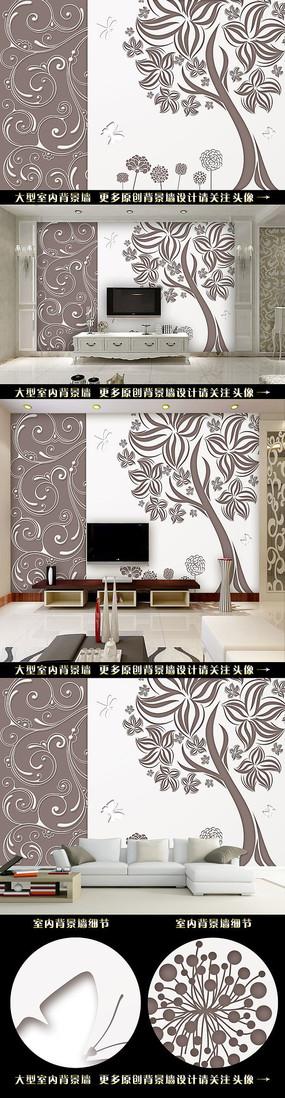 欧式手绘树电视背景墙