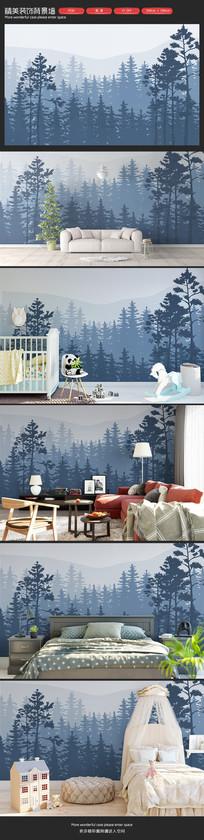清新大气森林雨林客厅沙发背景墙