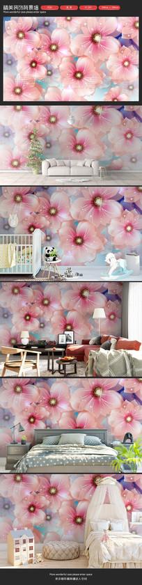 清新粉色花朵卧室客厅沙发背景墙