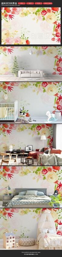 清新手绘红色花朵卧室客厅沙发背景墙