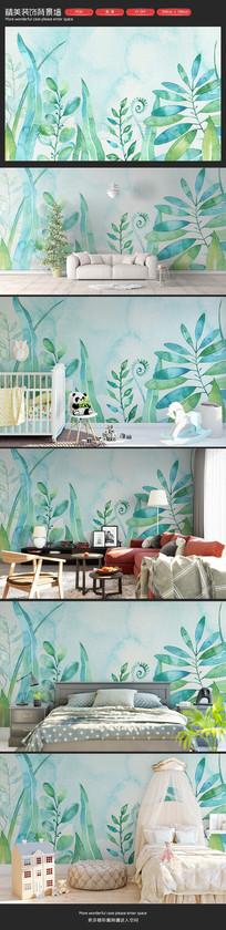 清新植物叶子儿童房卧室客厅沙发背景墙