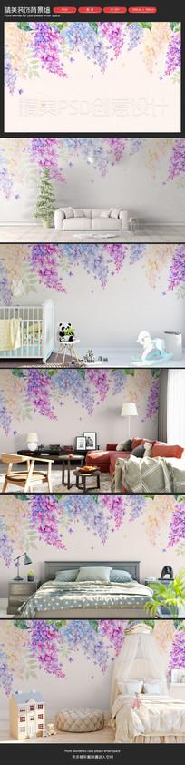 清新自然手绘花朵卧室客厅沙发背景墙