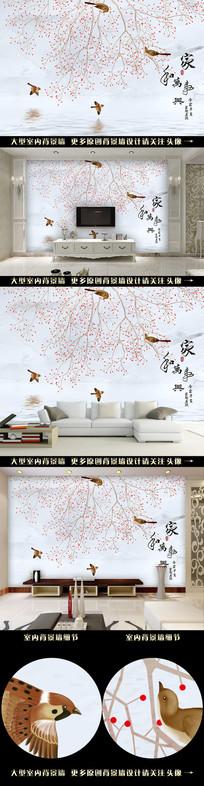手绘国画花鸟电视背景墙