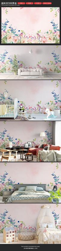 手绘花朵卧室客厅沙发背景墙