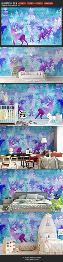 水彩森林麋鹿卧室客厅沙发背景墙