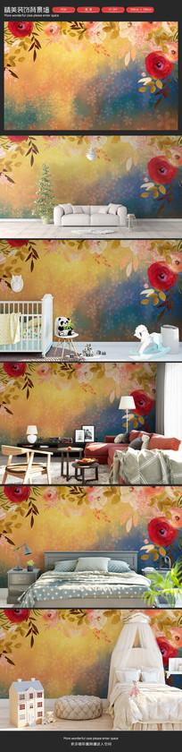 油画风格花朵卧室客厅沙发背景墙