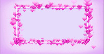 紫色爱心相框婚礼婚庆视频素材