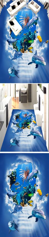 海洋蓝天白云3D浴室厨房走道地板地贴