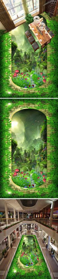 绿色山林梦镜地画地贴
