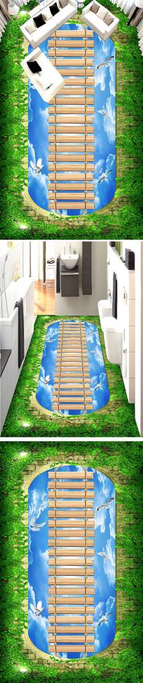 梦幻天空飞鸟浴室厨房走道3D地板