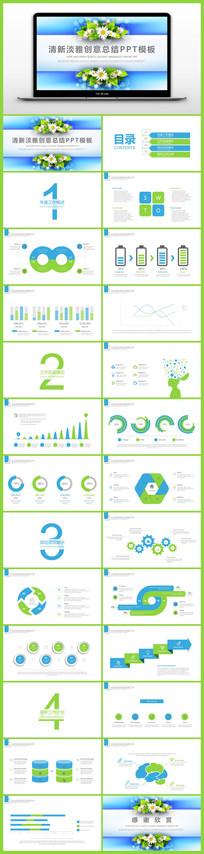 韩范清新淡雅创意商务月度年度总结汇报报告PPT模板