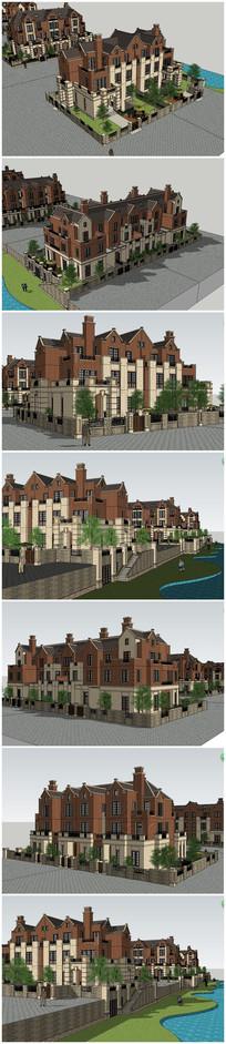 英式多层别墅SU模型