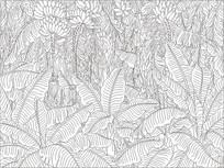 芭蕉树蕉叶雕刻图案