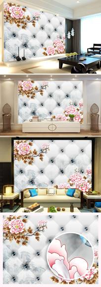 彩雕牡丹花软包客厅电视背景墙图片