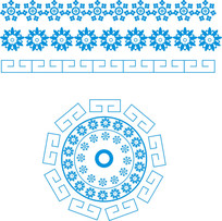 復古花飾紋樣圖矢量圖