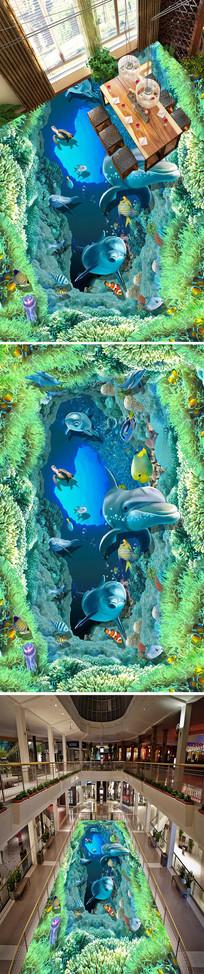 珊瑚海底世界立体地画