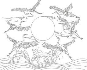 矢量仙鹤图案