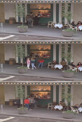 城市街边路口咖啡店游客排队购物视频